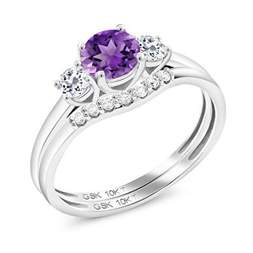 Gem Stone King 0.80 Ct Round Purple Amethyst White Topaz 10K White Gold Lab Grown Diamond Ring (Size 6)