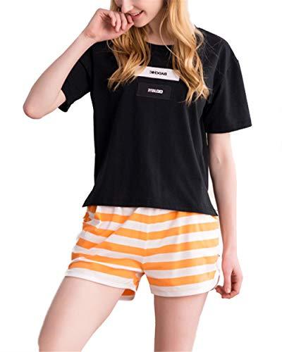 Pigiama da Camicie Donna BESTHOO da Tops Comoda Pantaloni Cotone due Pigiami T Black2 notte Corti Pezzi shirt dpgqwxf