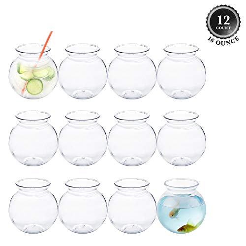 Plastic Fish Bowl 16 oz (12 Count) 4 Inch Fishbowl - Plastic Ivy Bowls - Unbreakable Vases - Great for Kids Carnival Games, Candy, Party Favors, Table Centerpieces and Decorations