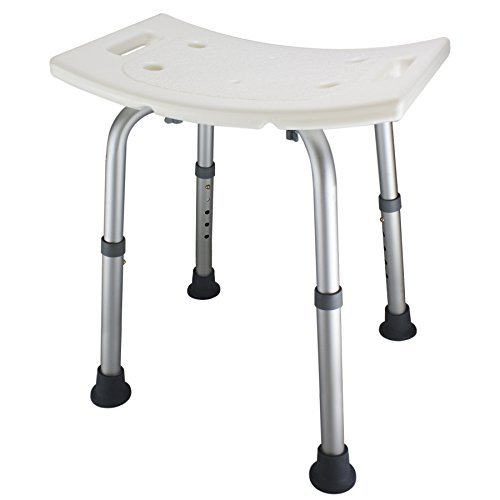 (Ez2care Adjustable Lightweight Shower Bench,White,2 Sizes (18 inches))