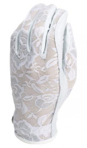 Evertan Women s Tan Through Golf Glove Gilded Floral White – Small Left Hand