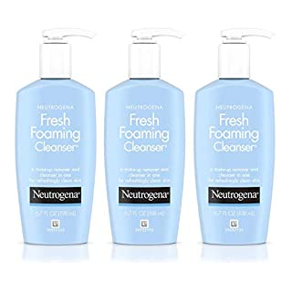 Neutrogena Fresh Foaming Facial Cleanser & Makeup Remover with Glycerin, Oil-, Soap- & Alcohol-Free Daily Face Wash Removes Dirt, Oil & Waterproof Makeup, Non-Comedogenic & Hypoallergenic, 6.7 Fl Oz
