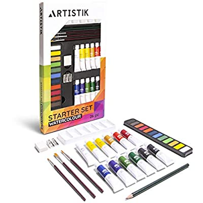 Watercolor Paint Set - (31 Pieces) Watercolour Painting Kit, 12-12 ml Color Tube Sets, Paint Brushes, Palette, Knife, Sketching Pencil, Art Supplies for Beginners, and Hobbyists
