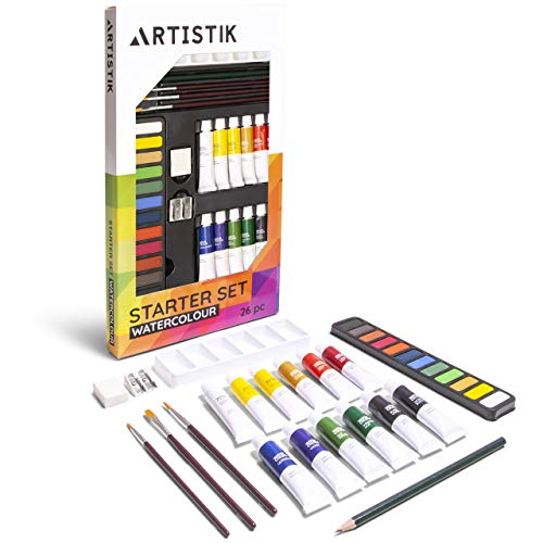 Watercolour Brush Set - Watercolor Paint Set - (31 Pieces) Watercolour Painting Kit, 12-12 ml Color Tube Sets, Paint Brushes, Palette, Knife, Sketching Pencil, Art Supplies for Beginners, and Hobbyists