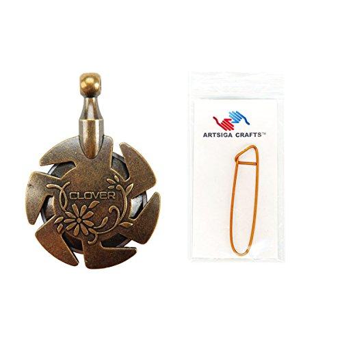 (Clover Needlecraft Yarn Cutter Pendant Antique Gold Bundle with 1 Artsiga Crafts Stitch Holder 3105)