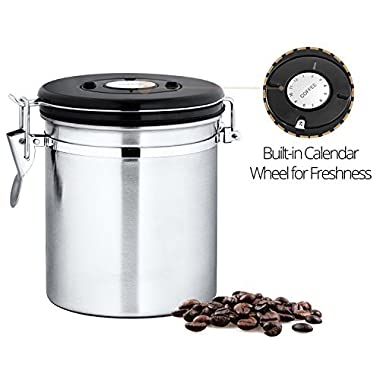 Chef's Star Stainless Steel Airtight Canister with Built-in CO2 Gas Vent Valve and Date Tracking Wheel for Coffee Beans and Coffee Grounds