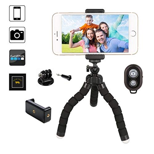 Camera Cellular Mobile Phone - Phone Tripod, Realm Levant Flexible, Portable, and Adjustable Mini Tripod for iPhone, Android, GoPro, Camera, and Cell Phones with Wireless Bluetooth Remote Control and Universal Mount
