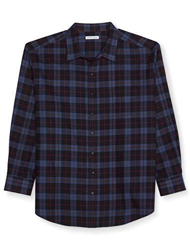 (Amazon Essentials Men's Big & Tall Long-Sleeve Plaid Flannel Shirt, Blue/Black, 3X)