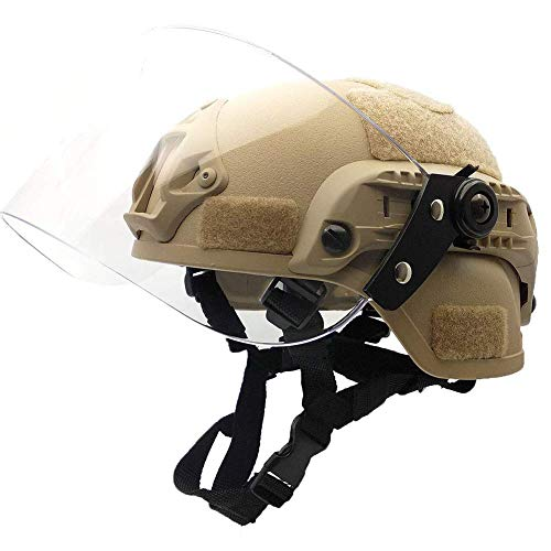 WLXW Airsoft Helmet, MICH2000 Tactical Quick Helmet, with Sunshade Goggles Combination, Paintball Hunting - Protective Gear, Explosion-Proof Patrol,Tan (Best Helmet Goggle Combination)