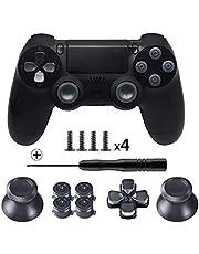 TOMSIN Metal Buttons for DualShock 4, Aluminum Metal Thumbsticks Analog Grip & Bullet Buttons & D-pad for PS4 Controller (Metal Black)