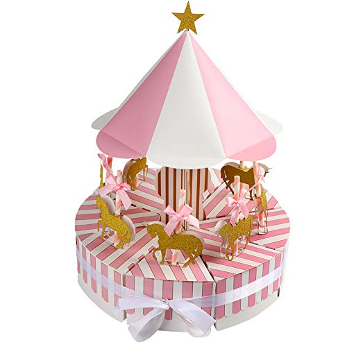Wmbetter Pink Carousel Party Supplies Baby Shower Favor Boxes, Unicorn Theme Carousel Candy Boxes Candy Gift Box for Birthday Wedding Baby Shower