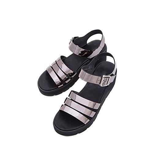 da donna Argento basso 39 Sandali Pantofole tacco con estivi a tacco moda Sandali Tacchi casual alla Sandali basso DHG alti piatti Ip1tqww