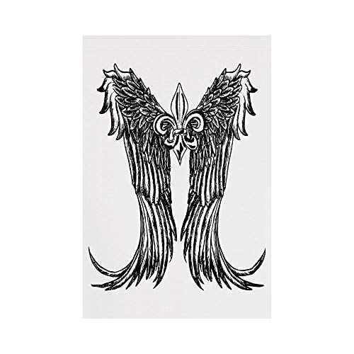 Polyester Garden Flag Outdoor Flag House Flag Banner,Medieval,Tribal Wing Design Magic Spell Middle Ages Symbol of Power Artistic Design,Black and White,for Wedding Anniversary Home Outdoor Garden Dec