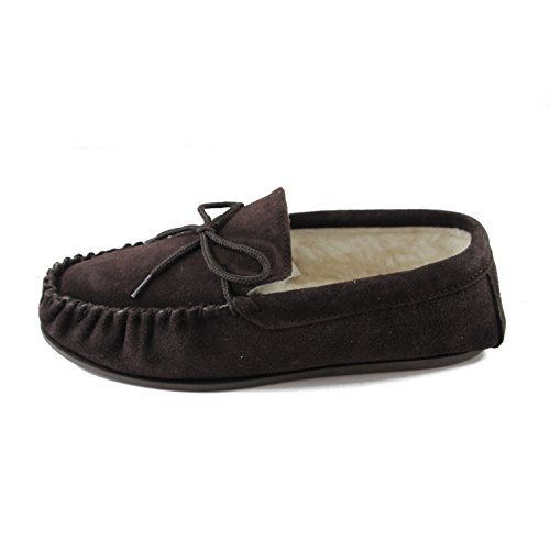 Unisex Lambswool Moccasin with Hard Sole - Brown T3NscTT
