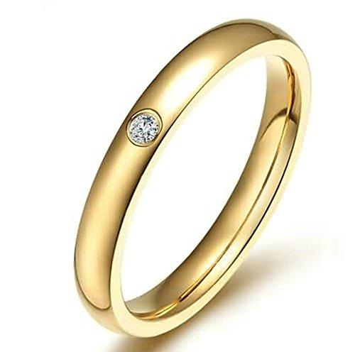 KnSam Women Wedding Bands Stainless Steel Single Crystal Rhinestone Gold Size 6 -