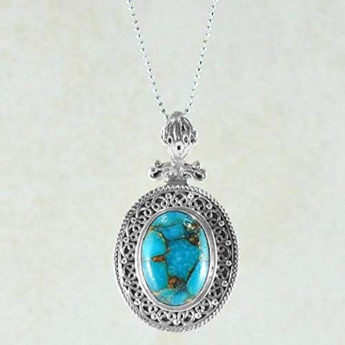 SIVALYA Blue Copper Turquoise Pendant Necklace in 925 Sterling Silver - Great Gift for Her