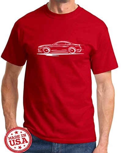 2015-17 Ford Mustang GT 5.0 Coupe Redline Series Outline Design Tshirt XL red