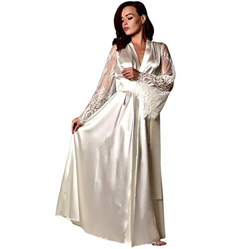 Women Pajamas Satin Long Nightdress Silk Lace Lingerie Nightgown Sleepwear Lace Splice Robe by FAPIZI White