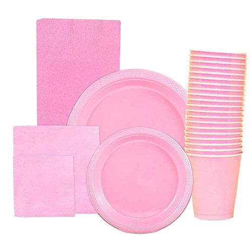 JAM Paper Party Supply Assortment Pack - Baby Pink - Plates (2 Sizes), Napkins (2 Sizes), Cups (1 pack) & Tablecloth (1 pack) - 6/pack