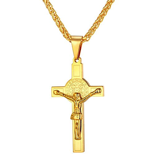 Gold Plated Crucifix - U7 18K Gold Plated Crucifix Pendant & Chain St Benedict Medal Jesus Cross Christian Jewelry Jesus Necklaces