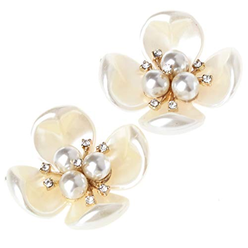 Simdoc 2Pcs DIY Fashion White Pearl Rhinestones Flower Shoe Clips Shoe Buckles Decorations Cloth Patch 3.4cm