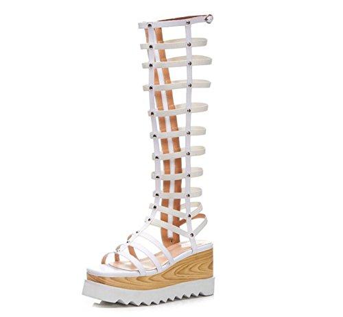 Blanco cuña Hollow caseros sintético de del Aire Casual Blanco Altas talón Zapatos de Negro Libre al para DANDANJIE Sexy Botas Cuero Zapatos de Mujer Sandalias gqzSwXw7