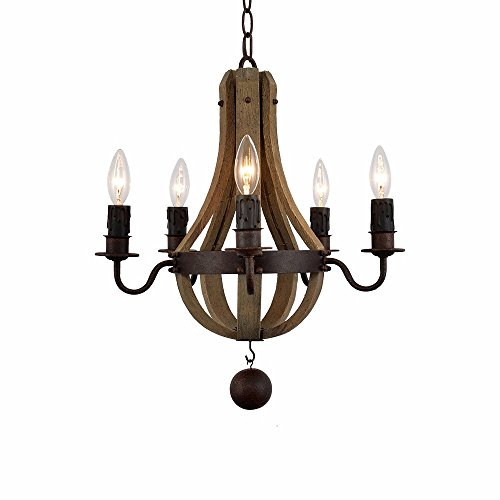 - Retro Rustic Wood and Metal Chandelier Lighting Frenc Vintage Iron Wooden Wine Barrel Pendant Light 5 Candle Artistic for Airport Farmhouse Beach Gazebo Nautical Church Nursery Staircase