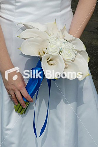 Brides Ivory Calla Lily & Rose Rounded Hand Tied Bouquet