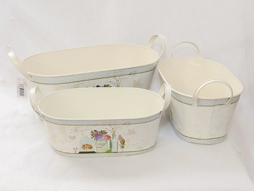 Wire Baskets Set of 3 Tin Decorated Oval Ivory Zelda Bomboniere