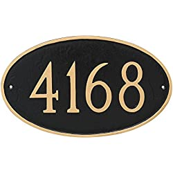 "Montague Metal 6"" x 10"" Classic Oval Address Sign Plaque, Small, Black/Gold"