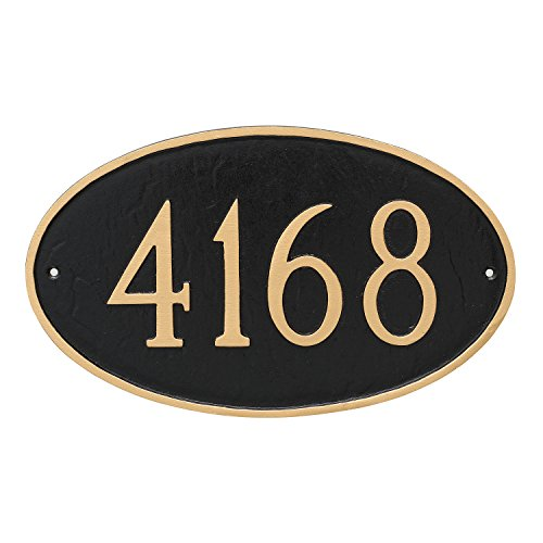 "Montague Metal 8.5"" x 13.75"" Classic Oval Address Sign Plaque, Standard, Black/Gold"