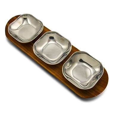 Wilton Armetale Boston Three 4-1/4-Inch Bowls, with Acacia Wood Tray, Rectangular, 13-Inch by 4-1/2-Inch