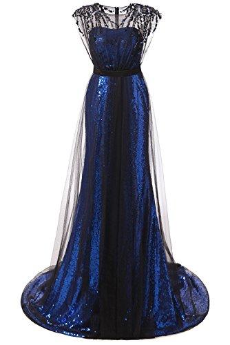 [Promstar Women's Elegant Blue Sequins Floor Length Formal Prom Evening Dresses] (Plus Size Formal Dresses)