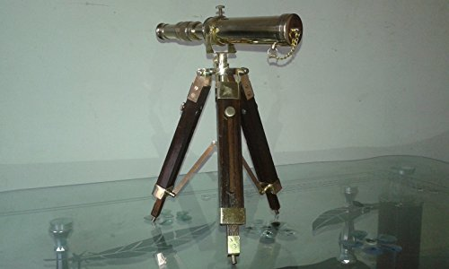 Vintage Collectable Decor Brass polish Telescope with Wooden Tripod Stand by MAX ENGINEERING ENTERPRISES