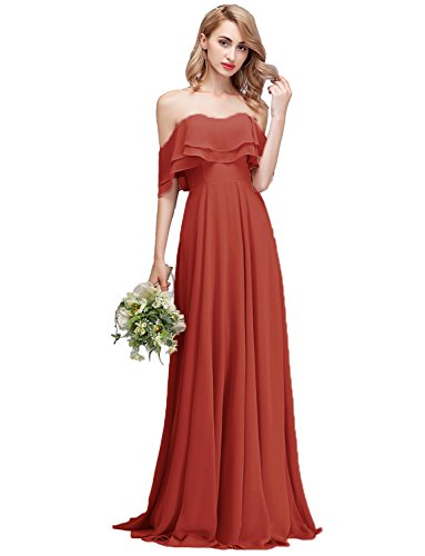 CLOTHKNOW Bridesmaid Dresses Long Burnt Orange with Shoulder Ruffles Women Girls (Burnt Orange Bridesmaid Dresses)
