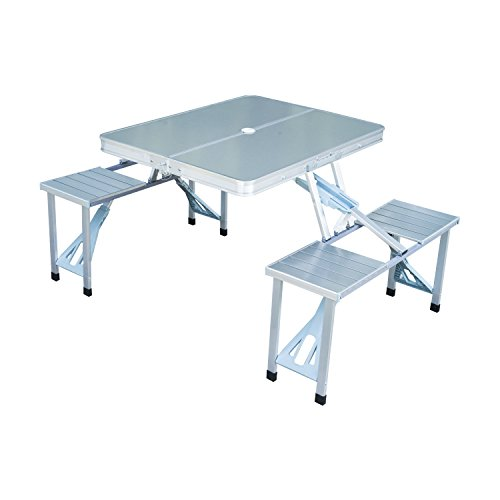 New Outdoor Portable Folding Aluminum Picnic Table 4 Seats Chairs Camping w/Case by NA