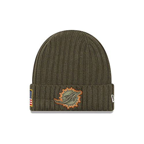 New Era Men's Men's Dolphins 2017 Salute to Service Cuffed Knit Hat Olive Size One Size ()