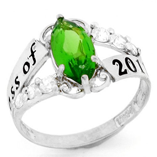10k Ring Class (10k White Gold Simulated August Birthstone 2019 Class Graduation Ring)