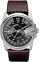 Diesel Master Chief men's black dial leather watch DZ1206