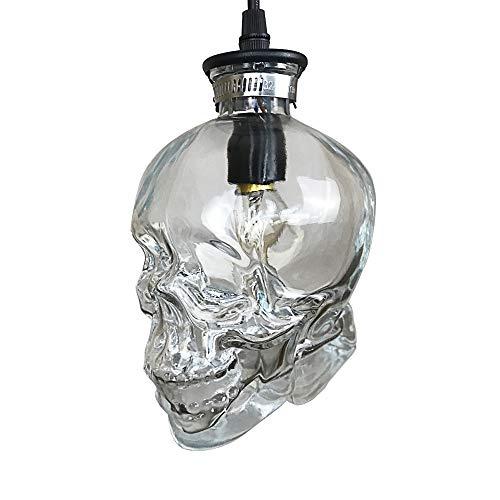 KIRIN Glass Skull Hanging Ceiling Pendant 1-Light Fixture Retro Style Industrial Vintage Clear Glass Ceiling Decoration Lamp Shades for Loft Bar Restaurant
