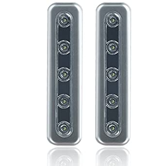 led silver wall lights wireless stick anywhere battery 12007