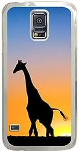 Sunset-giraffe-Botswana Cases for Samsung Galaxy S5 I9600 with Transparent Skin