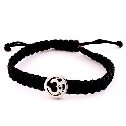 (Auspicious Om Bracelet in Silver on adjustable thread for men)