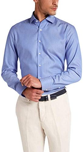 Eterna Long Sleeve Shirt Slim FIT Kettlancè Structured Mid Blue