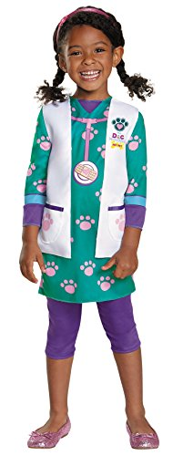 UHC Girl's Doc McStuffins Theme Outfit Toddler Child Halloween Fancy Costume, Toddler M (Infant Doc Mcstuffins Costume)