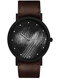 Stainless Steel Swiss-Quartz Leather Calfskin Strap, Black, 20 Casual Watch (Model: core-SL-76)
