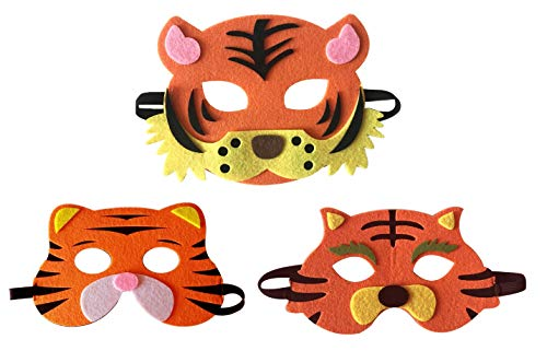 3 Piece Felt masks animal Halloween masks Dress-Up party accessory Parent-child game(Tiger)