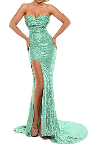 d6f7b88c3d38 Home Brands DarlingU DarlingU Women s 2018 Formal Mermaid Sweetheart Sequined  Prom Evening Party Gowns Split Mint 12.   