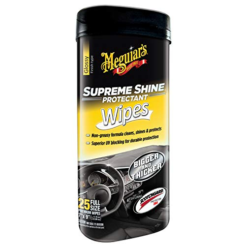Meguiar's G4000 Supreme Shine Protectant Wipes, 25 wipes (Best Auto Interior Cleaning Products)