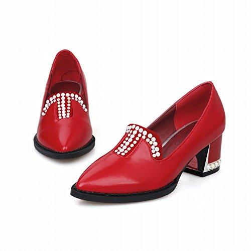 Mostrare Brillare Moda Donna Strass Punta A Metà Scarpe Tacco Grosso Rosso